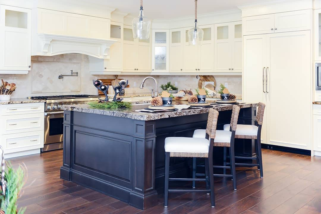 HOME FOR THE HOLIDAYS: The beautiful kitchen remains functional for holiday entertaining with small seasonal accents are visible throughout the space.