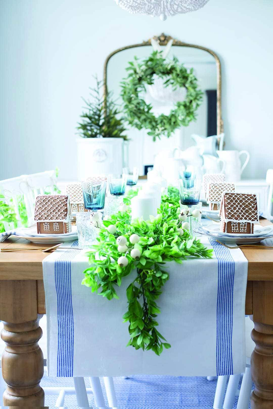 Faux garland swags the seats to create a festive seating arrangement.